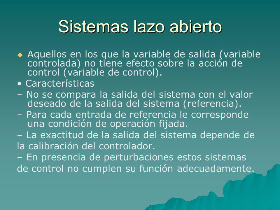 Sistemas lazo abierto   Aquellos en los que la variable de salida (variable controlada) no tiene efecto sobre la acción de control (variable de control).