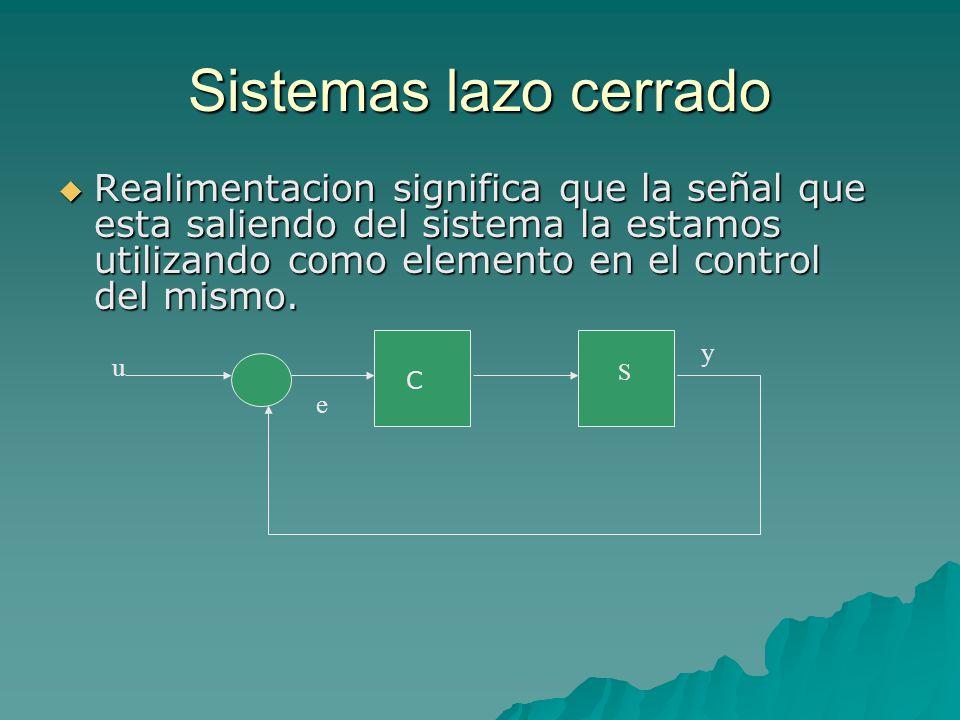 Sistemas lazo cerrado  Realimentacion significa que la señal que esta saliendo del sistema la estamos utilizando como elemento en el control del mismo.