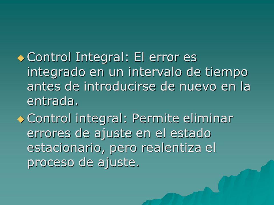  Control Integral: El error es integrado en un intervalo de tiempo antes de introducirse de nuevo en la entrada.