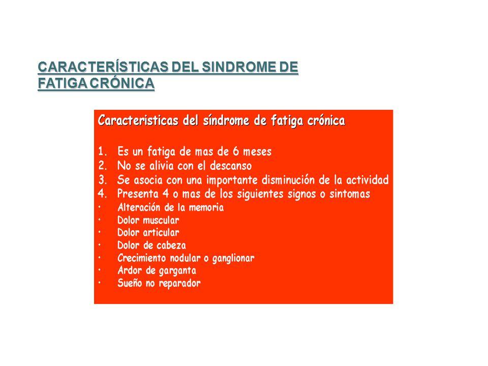 CARACTERÍSTICAS DEL SINDROME DE FATIGA CRÓNICA