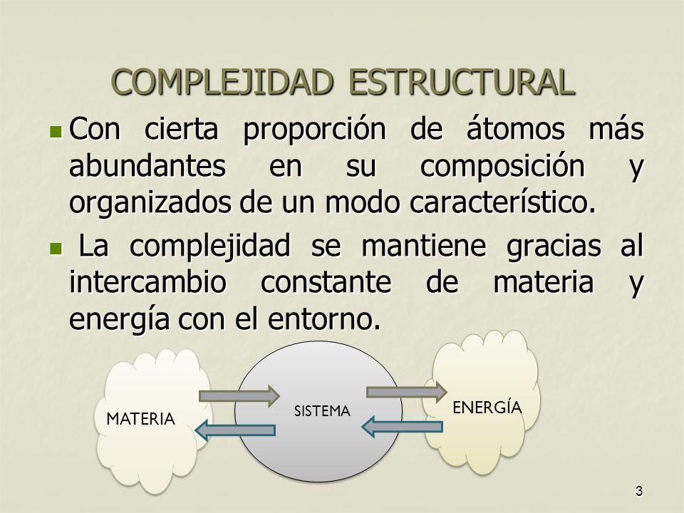 3 COMPLEJIDAD ESTRUCTURAL Con cierta proporción de átomos más abundantes en su composición y organizados de un modo característico.