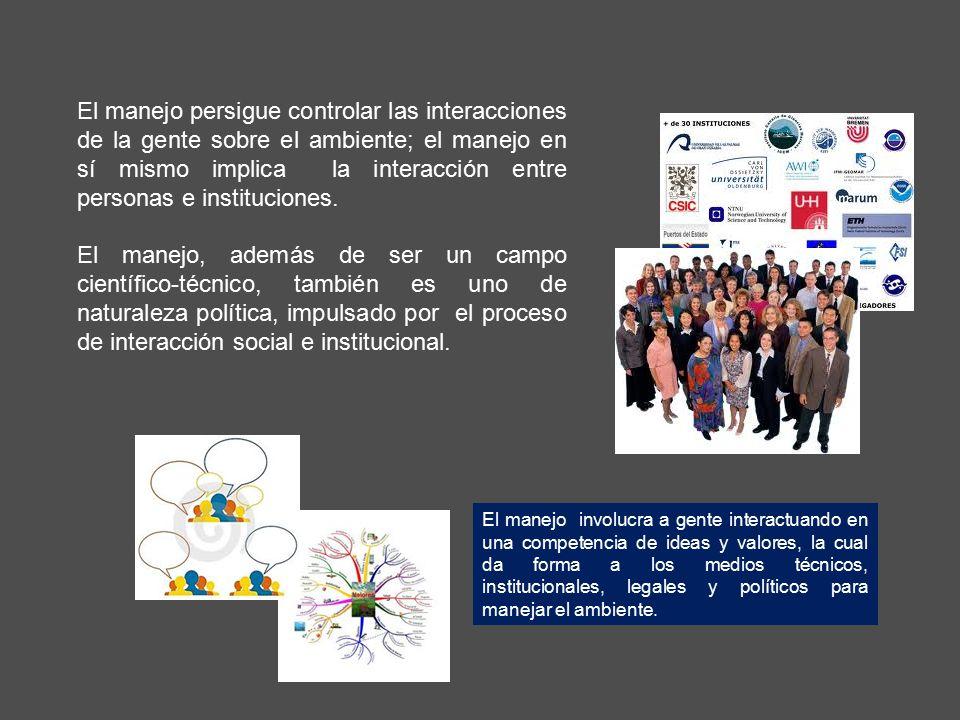 El manejo persigue controlar las interacciones de la gente sobre el ambiente; el manejo en sí mismo implica la interacción entre personas e instituciones.