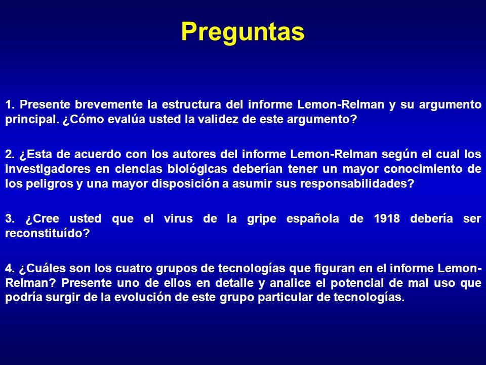 Preguntas 1. Presente brevemente la estructura del informe Lemon-Relman y su argumento principal.
