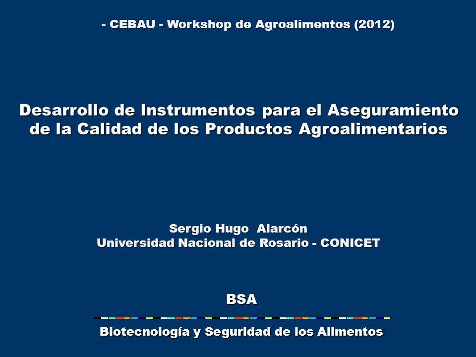 Desarrollo de Instrumentos para el Aseguramiento de la Calidad de los Productos Agroalimentarios Sergio Hugo Alarcón Universidad Nacional de Rosario - CONICET BSA Biotecnología y Seguridad de los Alimentos - CEBAU - Workshop de Agroalimentos (2012)