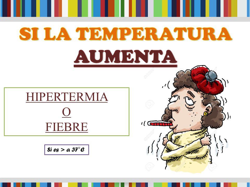 HIPERTERMIA O FIEBRE Si es > a 37°C