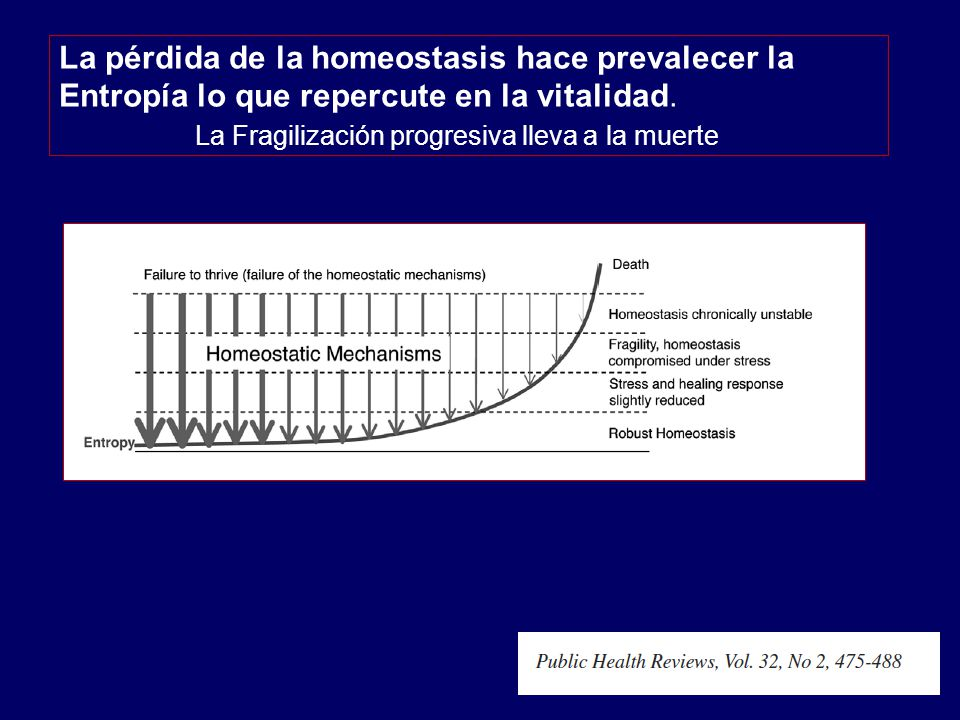 La pérdida de la homeostasis hace prevalecer la Entropía lo que repercute en la vitalidad.