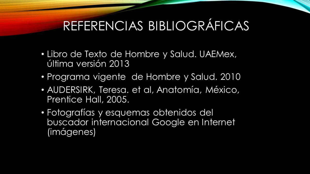 REFERENCIAS BIBLIOGRÁFICAS Libro de Texto de Hombre y Salud.