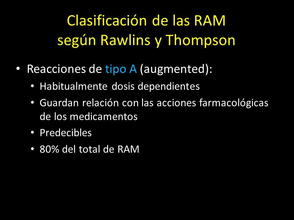 Clasificación de las RAM según Rawlins y Thompson Reacciones de tipo B (bizarre): Habitualmente dosis independientes Guardan relación con la respuesta inmunológica del individuo (hipersensibilidad) o con diferencias genéticas en individuos susceptibles (idiosincracia) Impredecibles 20% del total de RAM