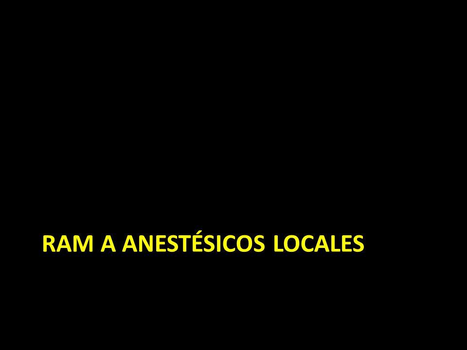 RAM a anestésicos locales <1% de RAM a anestésicos locales son mediadas por IgE (hipersensibilidad de tipo I) La mayoría ocurre por: – Epinefrina asociada: palpitaciones, taquicardia – Preservantes asociados – Inyección directa al vaso sanguíneo – Reacción vasovagal (averiguar en qué consiste)