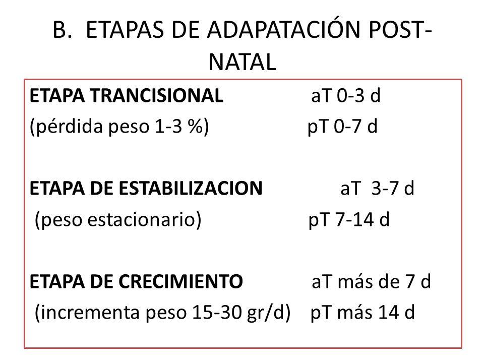 B. ETAPAS DE ADAPATACIÓN POST- NATAL ETAPA TRANCISIONAL aT 0-3 d (pérdida peso 1-3 %) pT 0-7 d ETAPA DE ESTABILIZACION aT 3-7 d (peso estacionario) pT