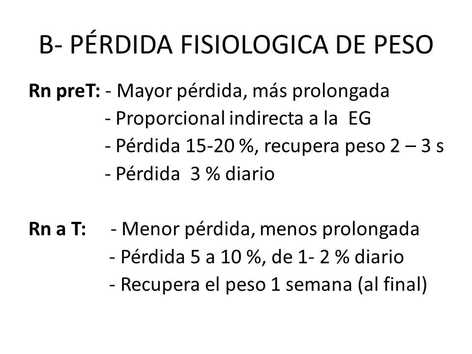 B- PÉRDIDA FISIOLOGICA DE PESO Rn preT: - Mayor pérdida, más prolongada - Proporcional indirecta a la EG - Pérdida 15-20 %, recupera peso 2 – 3 s - Pé