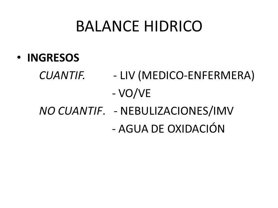 BALANCE HIDRICO INGRESOS CUANTIF. - LIV (MEDICO-ENFERMERA) - VO/VE NO CUANTIF. - NEBULIZACIONES/IMV - AGUA DE OXIDACIÓN