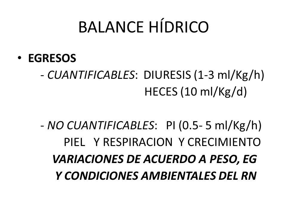 BALANCE HÍDRICO EGRESOS - CUANTIFICABLES: DIURESIS (1-3 ml/Kg/h) HECES (10 ml/Kg/d) - NO CUANTIFICABLES: PI (0.5- 5 ml/Kg/h) PIEL Y RESPIRACION Y CREC