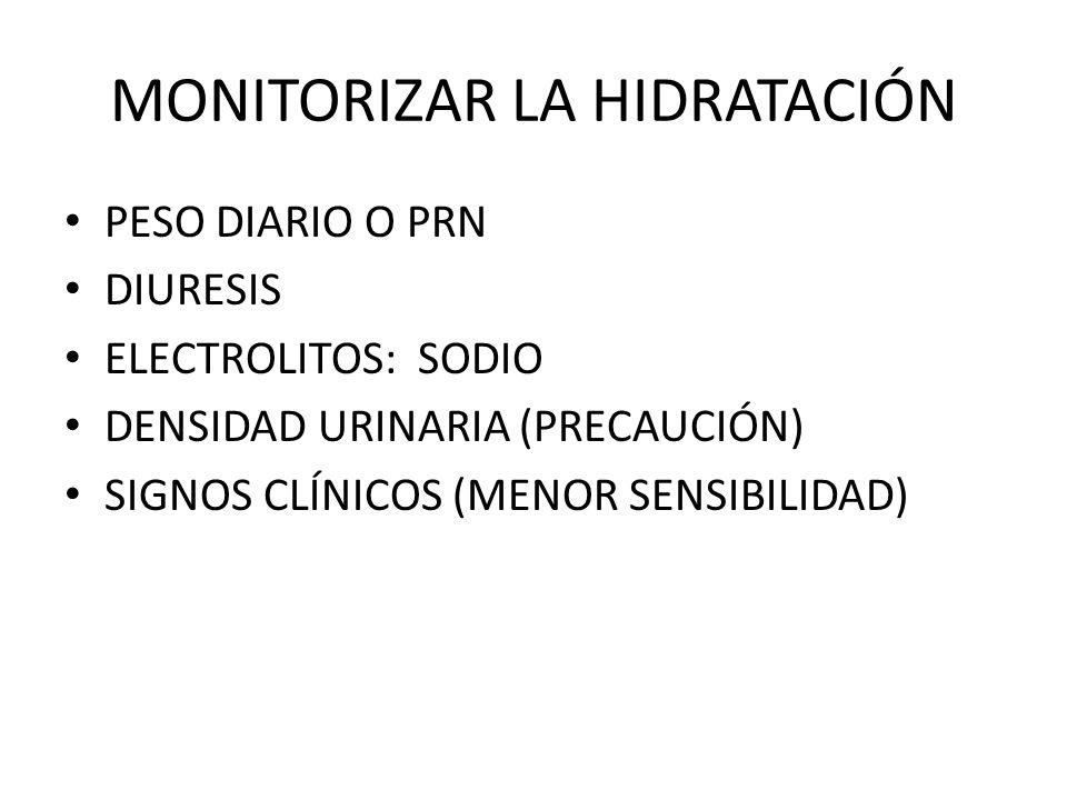 MONITORIZAR LA HIDRATACIÓN PESO DIARIO O PRN DIURESIS ELECTROLITOS: SODIO DENSIDAD URINARIA (PRECAUCIÓN) SIGNOS CLÍNICOS (MENOR SENSIBILIDAD)