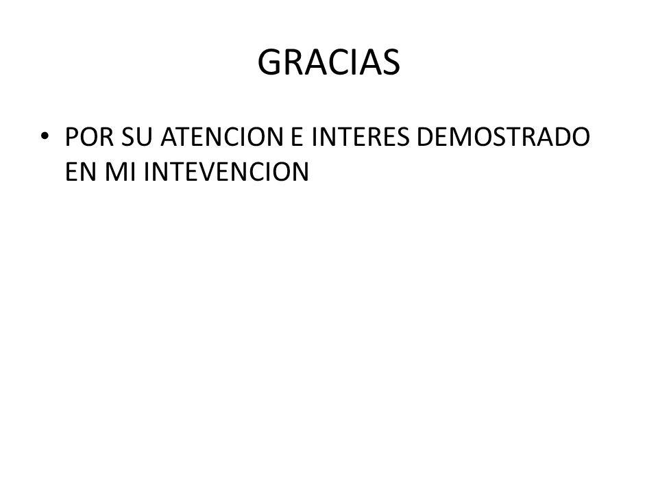 GRACIAS POR SU ATENCION E INTERES DEMOSTRADO EN MI INTEVENCION