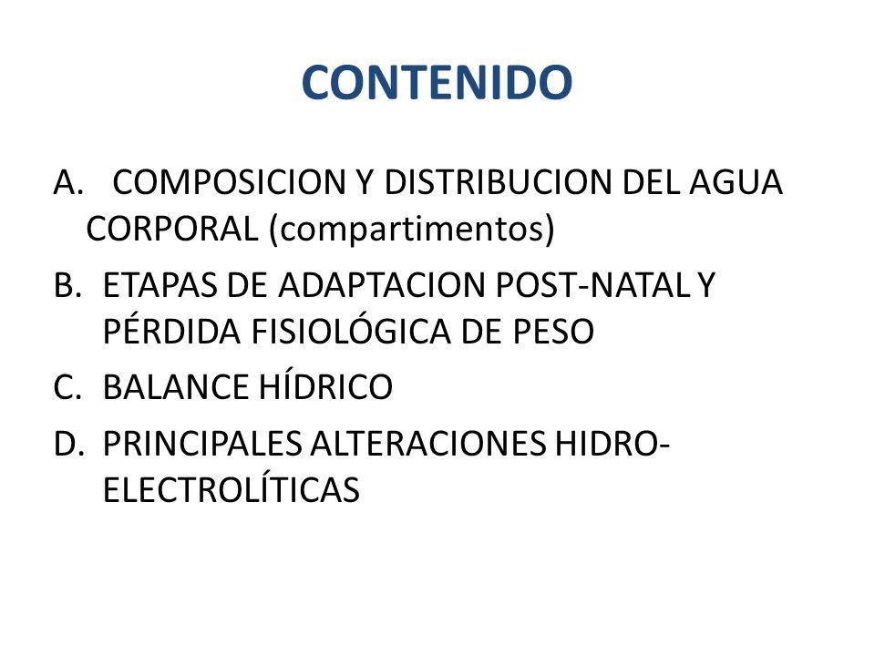 CONTENIDO A. COMPOSICION Y DISTRIBUCION DEL AGUA CORPORAL (compartimentos) B.ETAPAS DE ADAPTACION POST-NATAL Y PÉRDIDA FISIOLÓGICA DE PESO C.BALANCE H