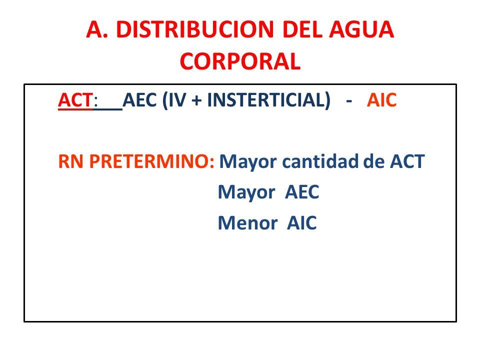 A. DISTRIBUCION DEL AGUA CORPORAL ACT: AEC (IV + INSTERTICIAL) - AIC RN PRETERMINO: Mayor cantidad de ACT Mayor AEC Menor AIC