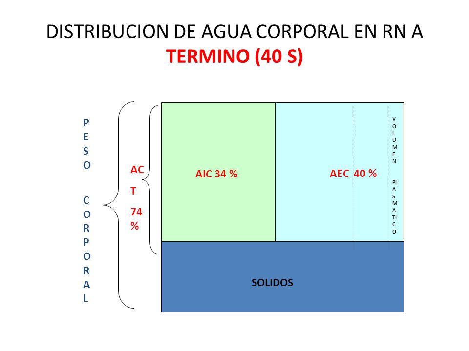 AIC 34 % SOLIDOS AEC 40 % V O L U M E N PL A S M A TI C O AC T 74 % PESO CORPORALPESO CORPORAL DISTRIBUCION DE AGUA CORPORAL EN RN A TERMINO (40 S)