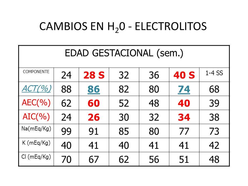 CAMBIOS EN H 2 0 - ELECTROLITOS EDAD GESTACIONAL (sem.) COMPONENTE 2428 S323640 S 1-4 SS ACT(%) 888682807468 AEC(%) 626052484039 AIC(%) 242630323438 N