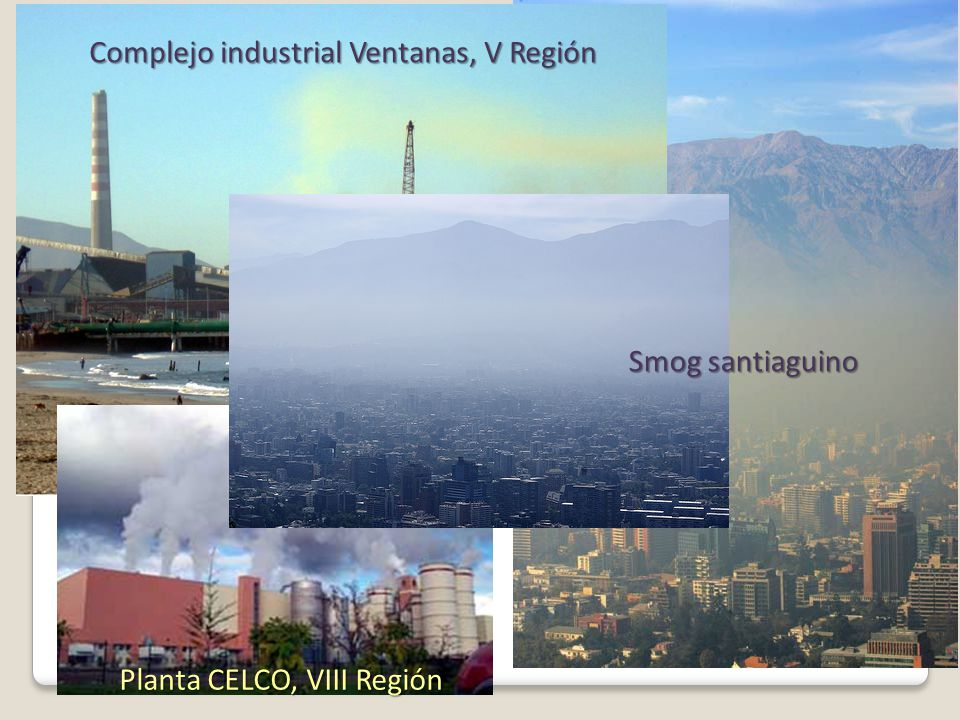 Complejo industrial Ventanas, V Región Planta CELCO, VIII Región Smog santiaguino