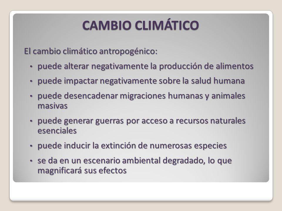 CAMBIO CLIMÁTICO El cambio climático antropogénico: puede alterar negativamente la producción de alimentos puede alterar negativamente la producción de alimentos puede impactar negativamente sobre la salud humana puede impactar negativamente sobre la salud humana puede desencadenar migraciones humanas y animales masivas puede desencadenar migraciones humanas y animales masivas puede generar guerras por acceso a recursos naturales esenciales puede generar guerras por acceso a recursos naturales esenciales puede inducir la extinción de numerosas especies puede inducir la extinción de numerosas especies se da en un escenario ambiental degradado, lo que magnificará sus efectos se da en un escenario ambiental degradado, lo que magnificará sus efectos