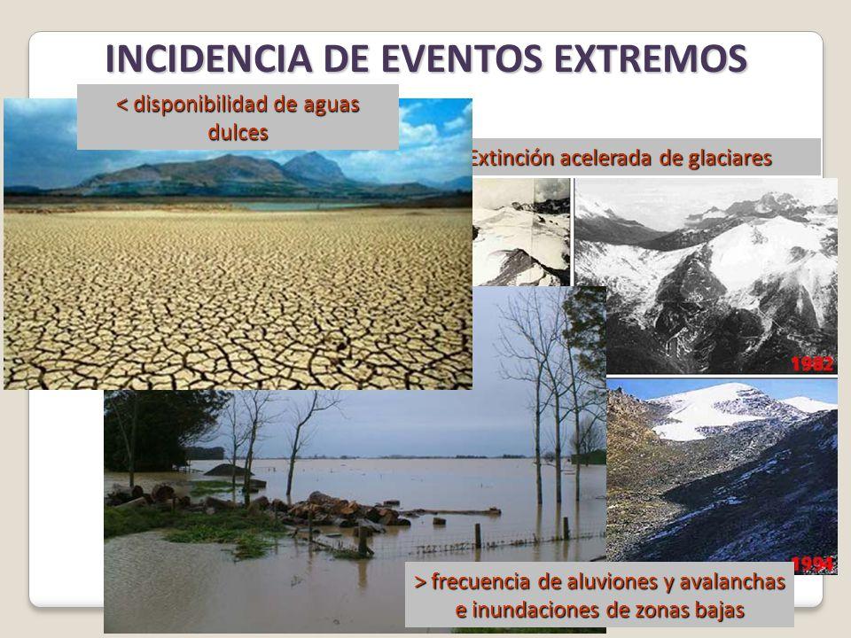 INCIDENCIA DE EVENTOS EXTREMOS > frecuencia de aluviones y avalanchas e inundaciones de zonas bajas Extinción acelerada de glaciares < disponibilidad de aguas dulces