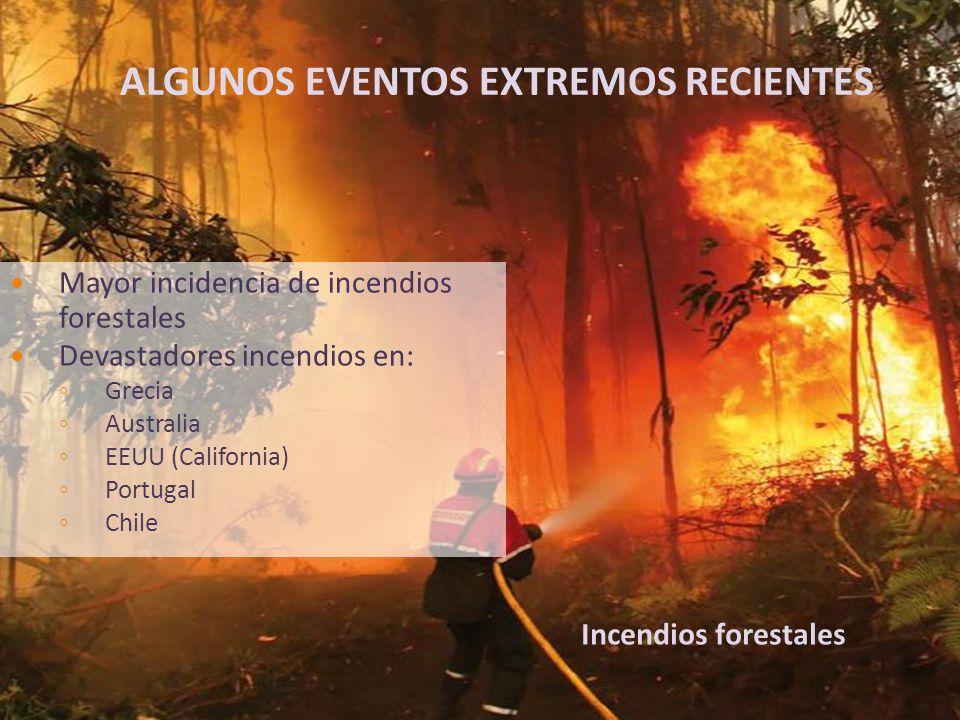 Mayor incidencia de incendios forestales Devastadores incendios en: ◦ Grecia ◦ Australia ◦ EEUU (California) ◦ Portugal ◦ Chile Incendios forestales ALGUNOS EVENTOS EXTREMOS RECIENTES