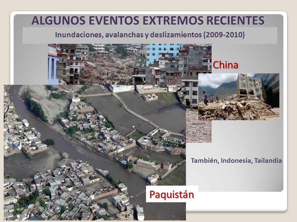 Inundaciones, avalanchas y deslizamientos (2009-2010) China ALGUNOS EVENTOS EXTREMOS RECIENTES Paquistán También, Indonesia, Tailandia