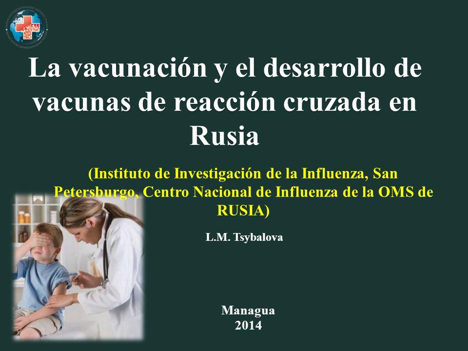 Managua 2014 (Instituto de Investigación de la Influenza, San Petersburgo, Centro Nacional de Influenza de la OMS de RUSIA) La vacunación y el desarrollo de vacunas de reacción cruzada en Rusia L.M.