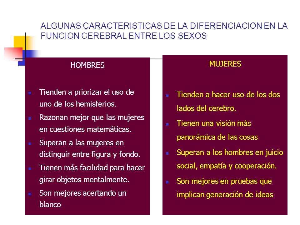 ALGUNAS CARACTERISTICAS DE LA DIFERENCIACION EN LA FUNCION CEREBRAL ENTRE LOS SEXOS HOMBRES Tienden a priorizar el uso de uno de los hemisferios.