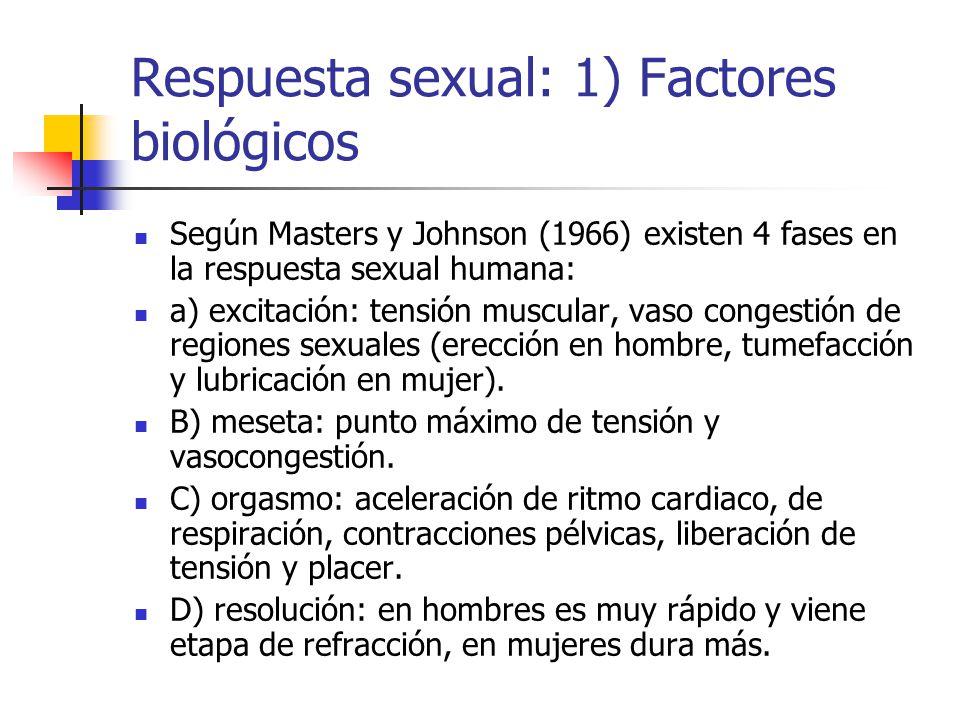 Respuesta sexual: 1) Factores biológicos Según Masters y Johnson (1966) existen 4 fases en la respuesta sexual humana: a) excitación: tensión muscular, vaso congestión de regiones sexuales (erección en hombre, tumefacción y lubricación en mujer).