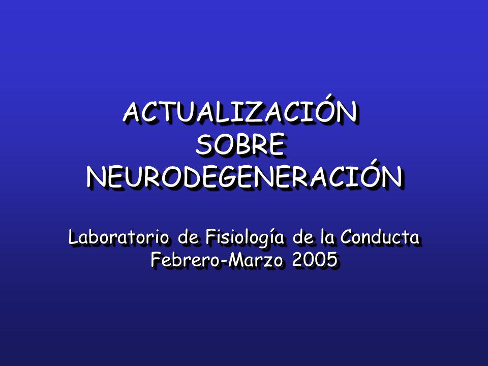 ACTUALIZACIÓNSOBRENEURODEGENERACIÓN Laboratorio de Fisiología de la Conducta Febrero-Marzo 2005 ACTUALIZACIÓNSOBRENEURODEGENERACIÓN Laboratorio de Fisiología de la Conducta Febrero-Marzo 2005