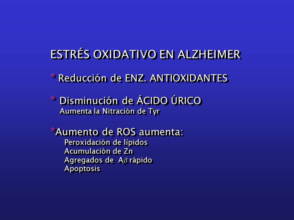 ESTRÉS OXIDATIVO EN ALZHEIMER * Reducción de ENZ.
