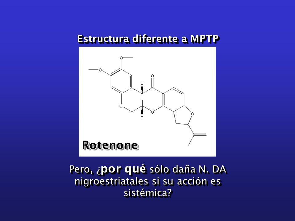 RotenoneRotenone Estructura diferente a MPTP Pero, ¿ por qué sólo daña N.