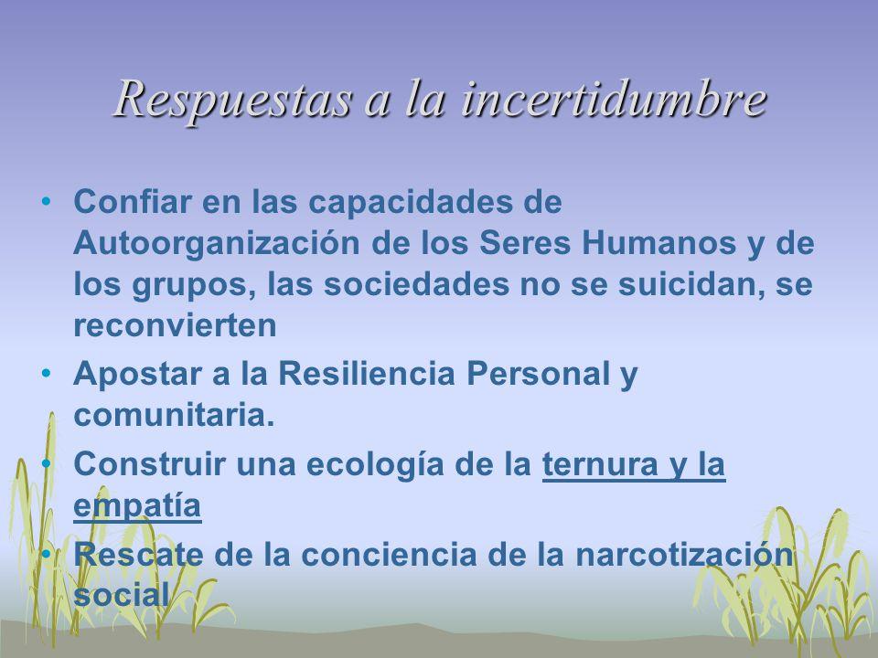 Respuestas a la incertidumbre Confiar en las capacidades de Autoorganización de los Seres Humanos y de los grupos, las sociedades no se suicidan, se reconvierten Apostar a la Resiliencia Personal y comunitaria.