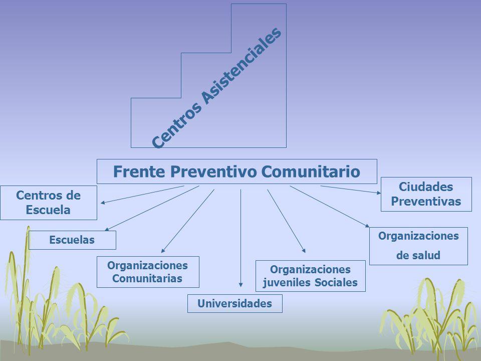 Centros Asistenciales Frente Preventivo Comunitario Centros de Escuela Escuelas Organizaciones Comunitarias Universidades Organizaciones juveniles Sociales Organizaciones de salud Ciudades Preventivas