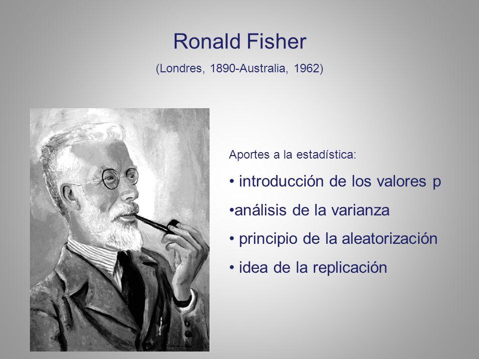 Ronald Fisher (Londres, 1890-Australia, 1962) Aportes a la estadística: introducción de los valores p análisis de la varianza principio de la aleatorización idea de la replicación