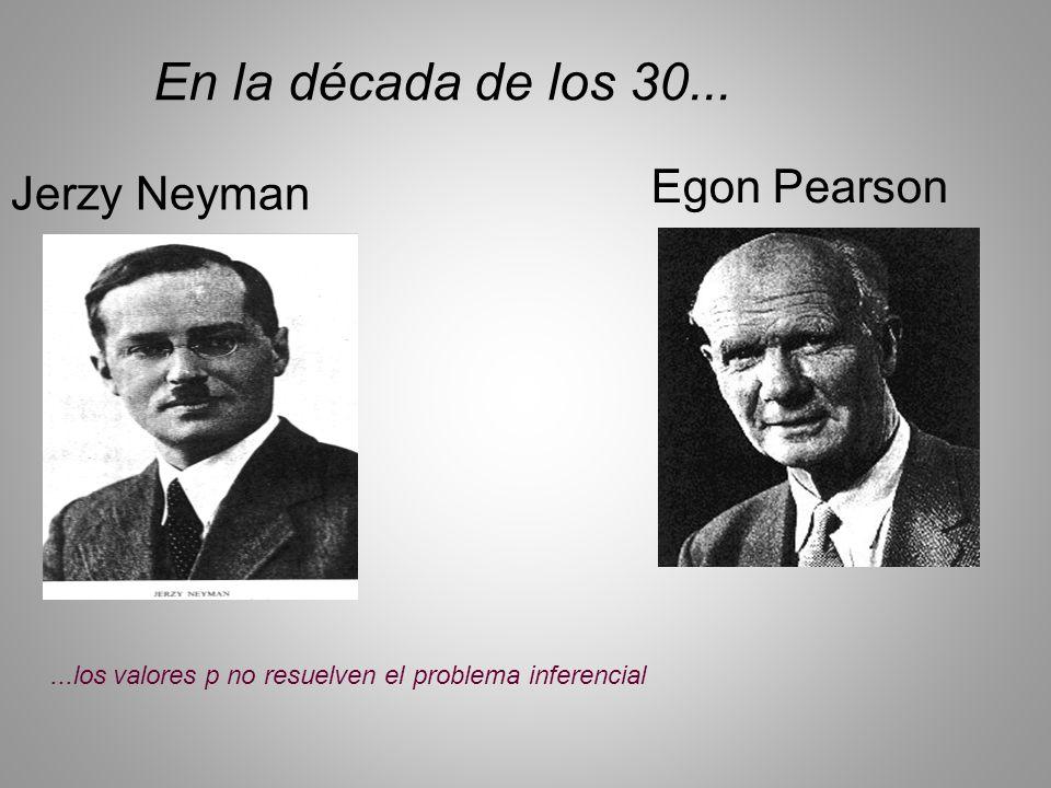 Jerzy Neyman Egon Pearson En la década de los 30......los valores p no resuelven el problema inferencial