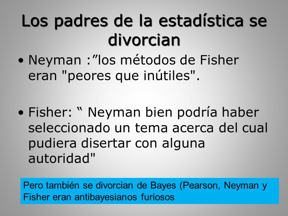 Los padres de la estadística se divorcian Neyman : los métodos de Fisher eran peores que inútiles .