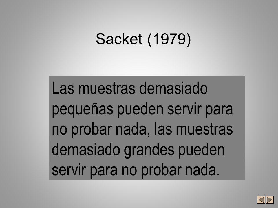 Sacket (1979) Las muestras demasiado pequeñas pueden servir para no probar nada, las muestras demasiado grandes pueden servir para no probar nada.