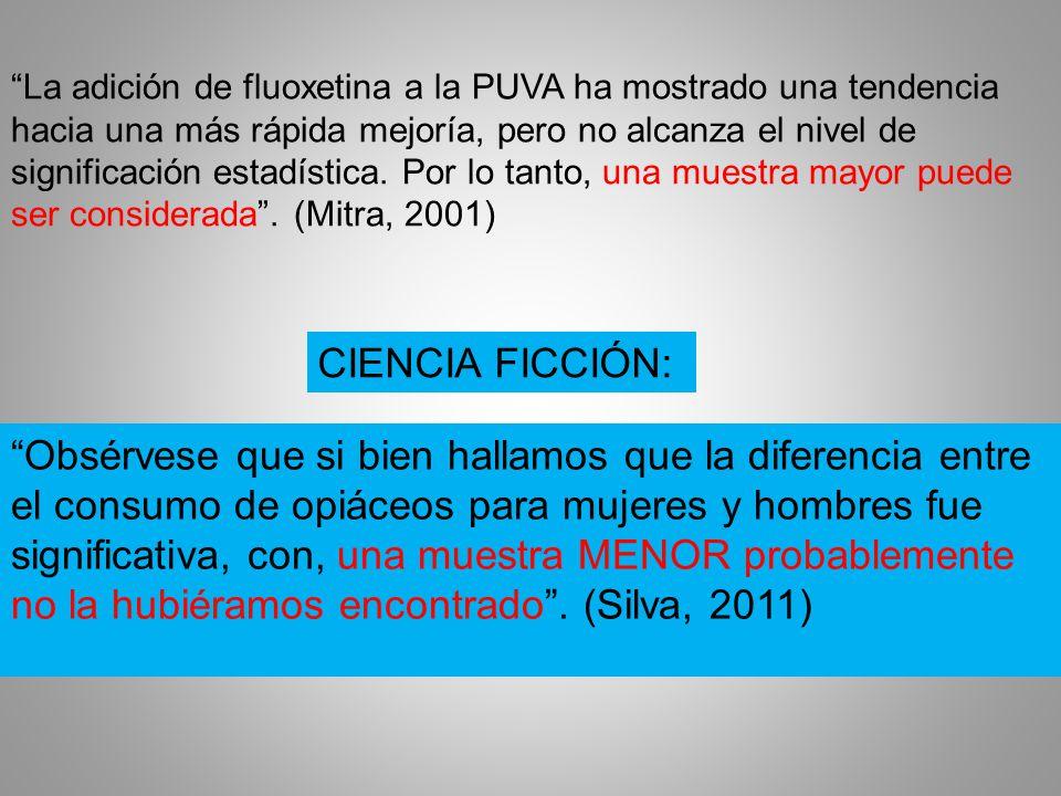 La adición de fluoxetina a la PUVA ha mostrado una tendencia hacia una más rápida mejoría, pero no alcanza el nivel de significación estadística.