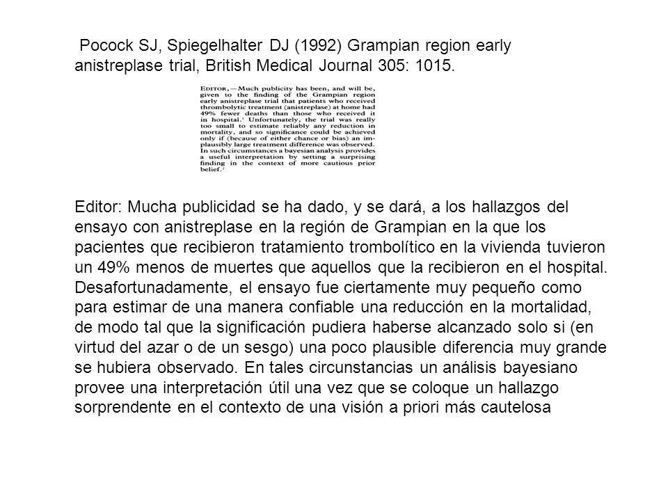 Pocock SJ, Spiegelhalter DJ (1992) Grampian region early anistreplase trial, British Medical Journal 305: 1015.