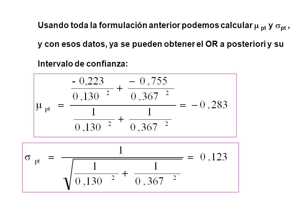 Usando toda la formulación anterior podemos calcular  pt y  pt, y con esos datos, ya se pueden obtener el OR a posteriori y su Intervalo de confianza:
