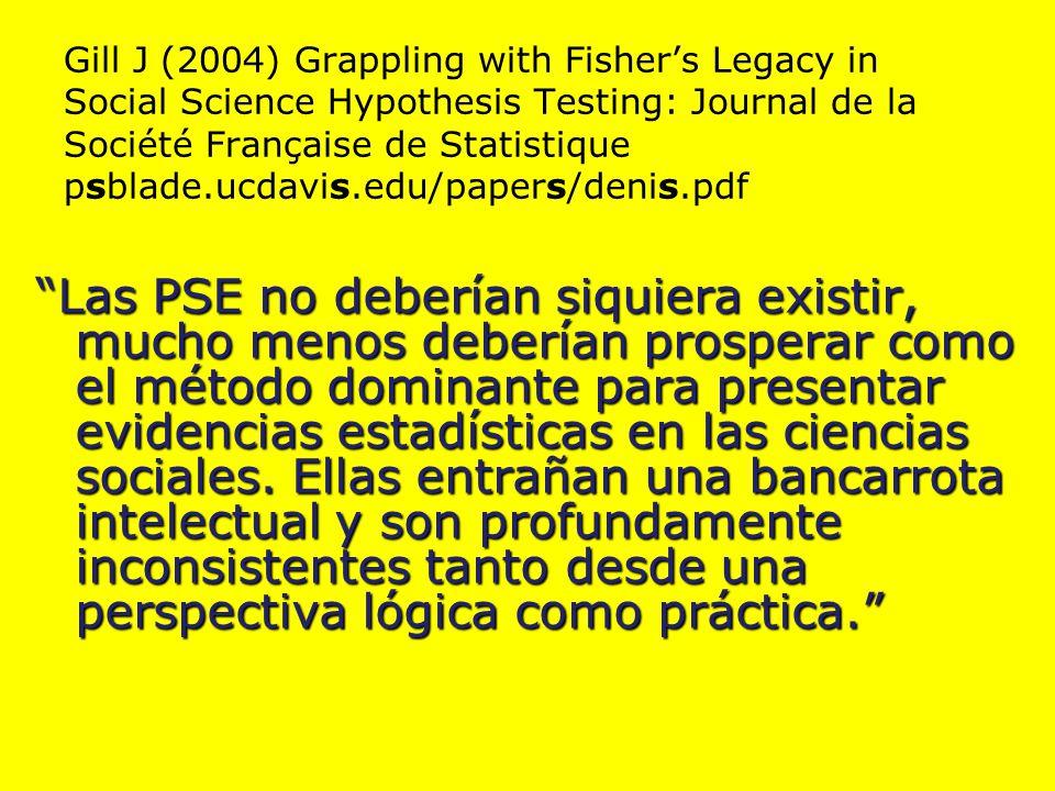 Gill J (2004) Grappling with Fisher's Legacy in Social Science Hypothesis Testing: Journal de la Société Française de Statistique psblade.ucdavis.edu/papers/denis.pdf Las PSE no deberían siquiera existir, mucho menos deberían prosperar como el método dominante para presentar evidencias estadísticas en las ciencias sociales.