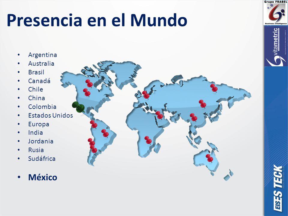 Presencia en el Mundo Argentina Australia Brasil Canadá Chile China Colombia Estados Unidos Europa India Jordania Rusia Sudáfrica México
