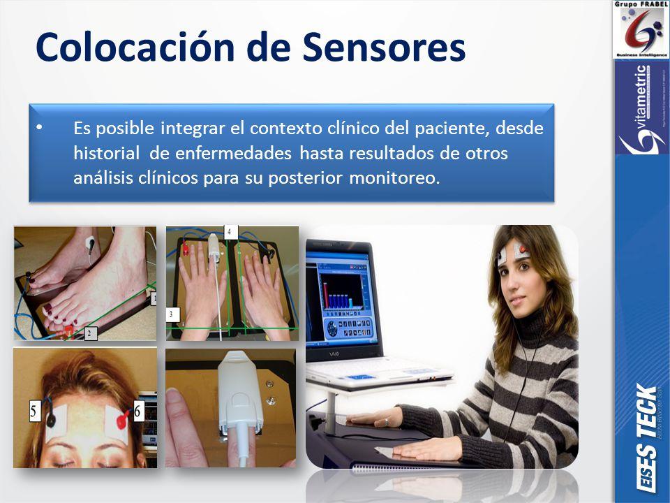 Colocación de Sensores Es posible integrar el contexto clínico del paciente, desde historial de enfermedades hasta resultados de otros análisis clínicos para su posterior monitoreo.