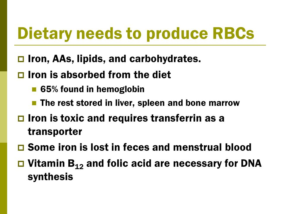 Dietary needs to produce RBCs  Iron, AAs, lipids, and carbohydrates.