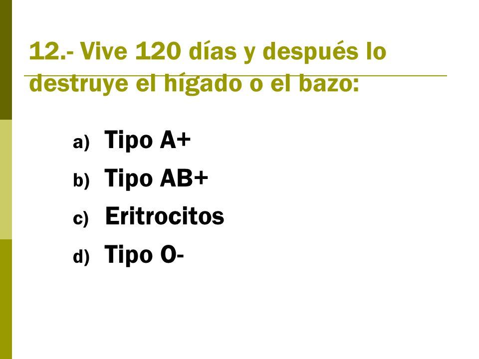 12.- Vive 120 días y después lo destruye el hígado o el bazo: a) Tipo A+ b) Tipo AB+ c) Eritrocitos d) Tipo O-