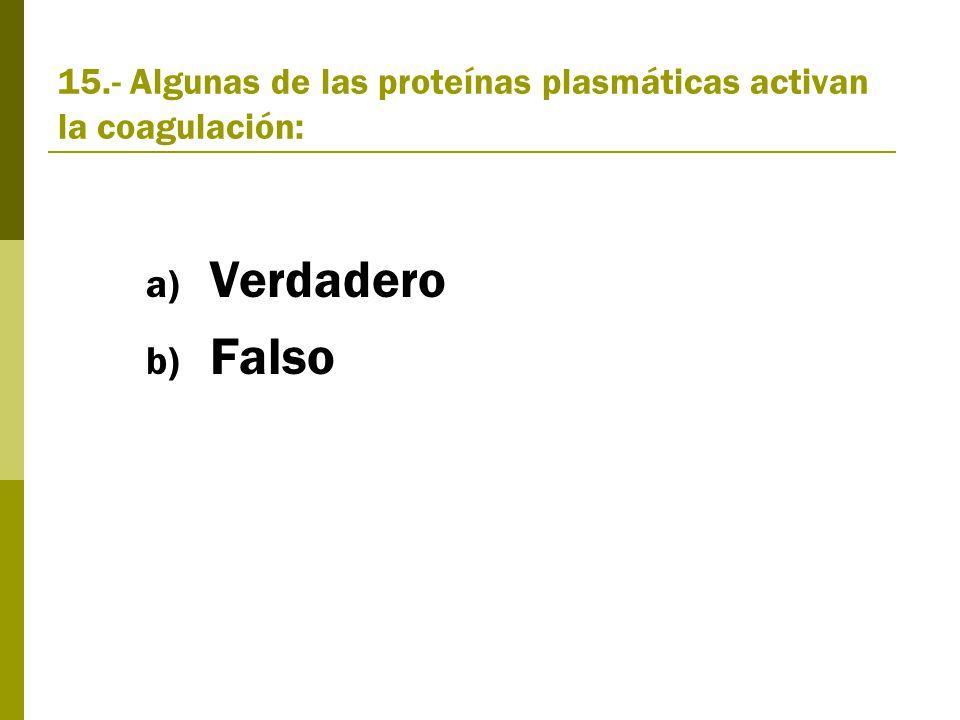 15.- Algunas de las proteínas plasmáticas activan la coagulación: a) Verdadero b) Falso