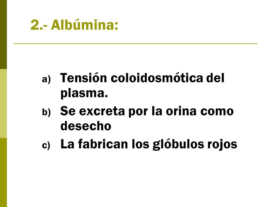 2.- Albúmina: a) Tensión coloidosmótica del plasma.